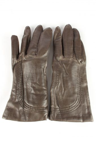 Leather Gloves Lined Vintage Womens 7 Brown