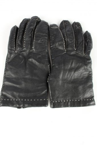 Leather Gloves Lined Vintage Womens Size 7.75 Black