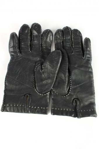 Leather Gloves Lined Vintage Womens Size 7.75 Black -G398-151555