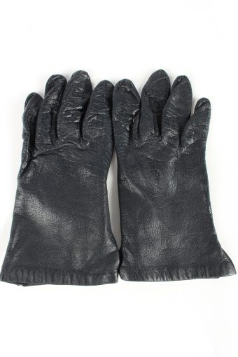 Leather Gloves Lined Vintage Womens 7 in Navy