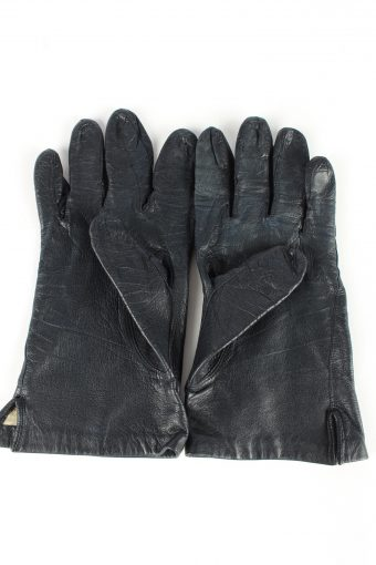 """Leather Gloves Lined Vintage Womens 7"""" Navy -G400-151563"""