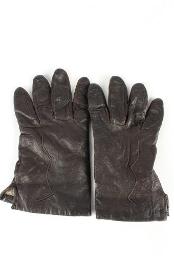 Leather Gloves Lined Vintage Womens 8 in Brown