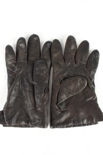 """Leather Gloves Lined Vintage Womens 8"""" Brown -G401-151567"""