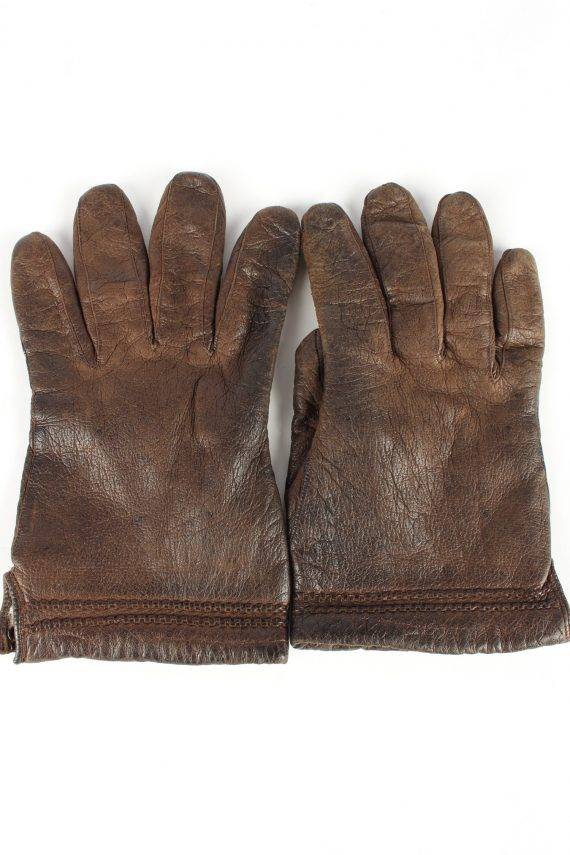 """Leather Gloves Lined Vintage Womens 7.5"""" Brown -G402-0"""