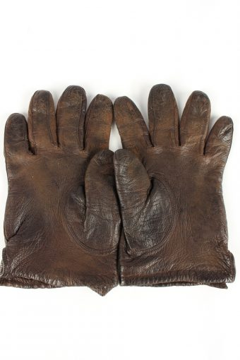 """Leather Gloves Lined Vintage Womens 7.5"""" Brown -G402-151571"""