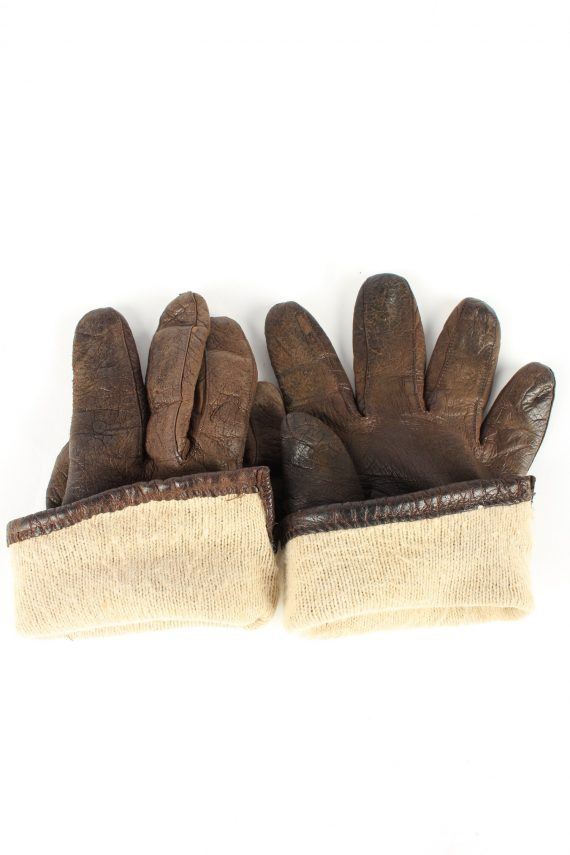 """Leather Gloves Lined Vintage Womens 7.5"""" Brown -G402-151572"""