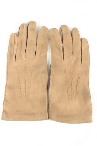 Genuine Suede Leather Gloves Vintage Womens 7/2 Brown