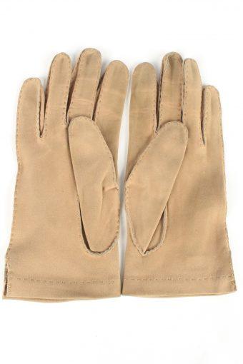 Genuine Suede Leather Gloves Vintage Womens 7/2 Brown -G410-151603
