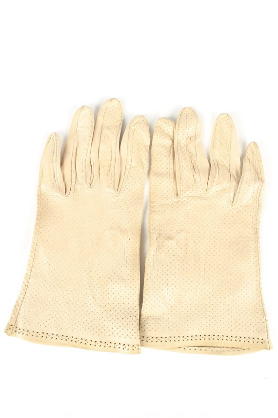 "Leather Gloves Vintage Womens 7"" Beige -G411-0"