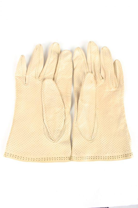 "Leather Gloves Vintage Womens 7"" Beige -G411-151607"