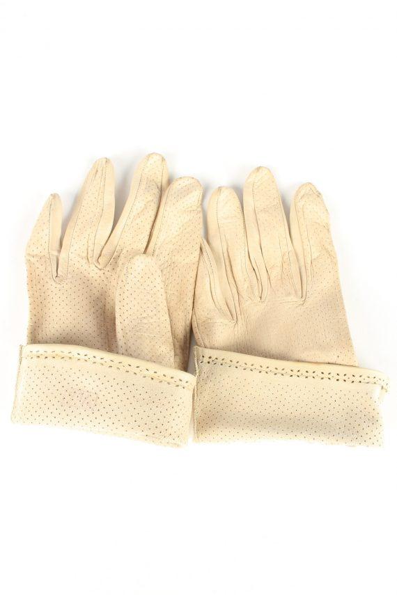 "Leather Gloves Vintage Womens 7"" Beige -G411-151608"