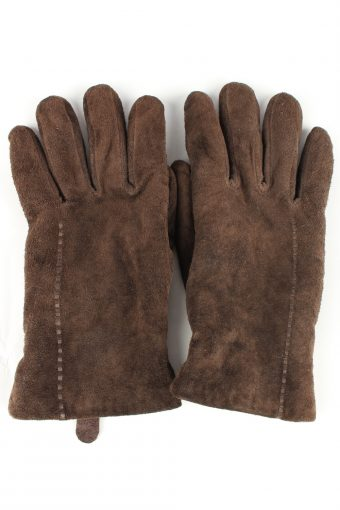 Genuine Suede Leather Gloves Lined Vintage Womens M Brown