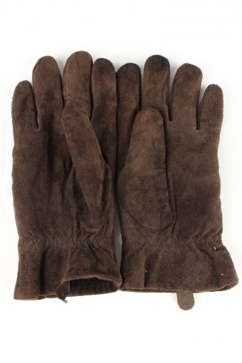 Genuine Suede Leather Gloves Lined Vintage Womens M Brown -G293-150776