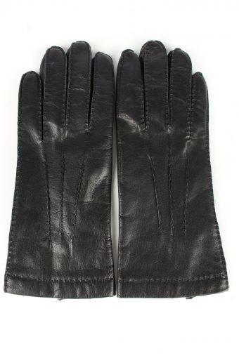 Leather Gloves Lined Vintage Womens 7.5 Black