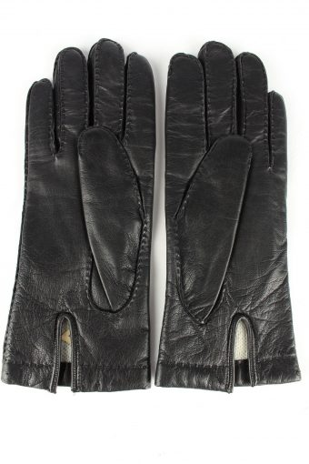 Leather Gloves Lined Vintage Womens 7.5 Black -G294-150780