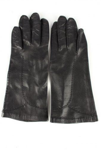 Leather Gloves Lined Vintage Womens 4 Black