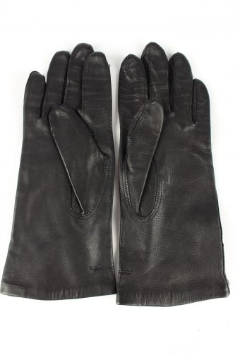 Leather Gloves Lined Vintage Womens 4 Black -G295-150784