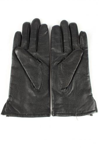 Leather Gloves Lined Vintage Womens 6.5 Black -G298-150796