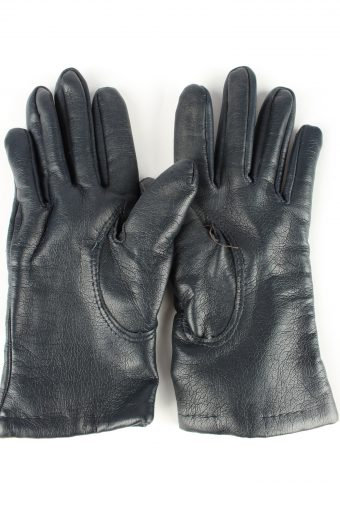 Leather Gloves Lined Vintage Womens Black -G299-150800