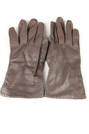 Leather Gloves Lined Vintage Womens 7.5 Brown