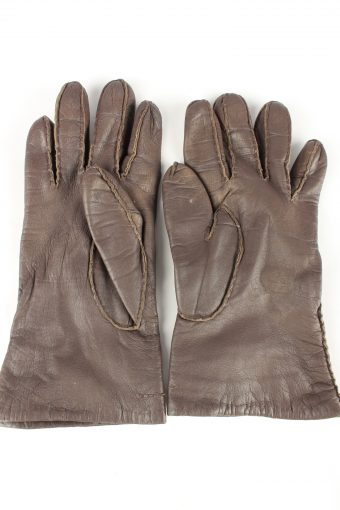 Leather Gloves Lined Vintage Womens 7.5 Brown -G300-150804