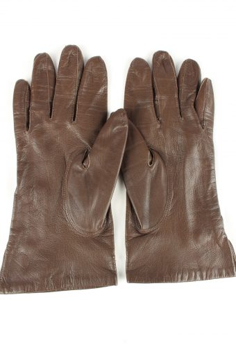 Leather Gloves Lined Vintage Womens Brown -G301-150808