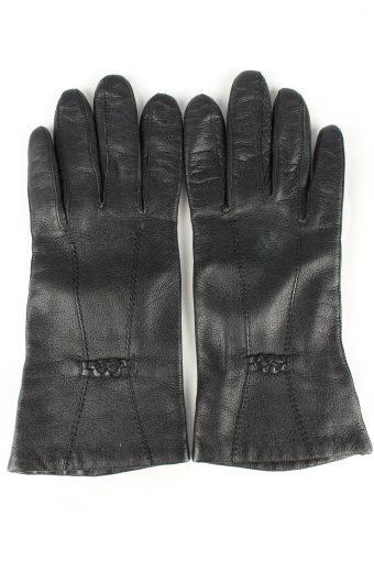 Leather Gloves Lined Vintage Womens Black