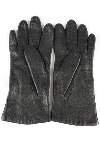 Leather Gloves Lined Vintage Womens Black -G303-150816