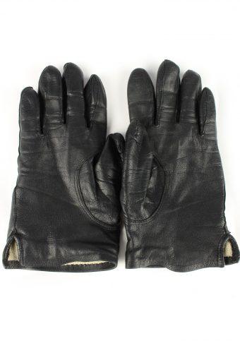 Leather Gloves Lined Vintage Womens Black -G304-150820