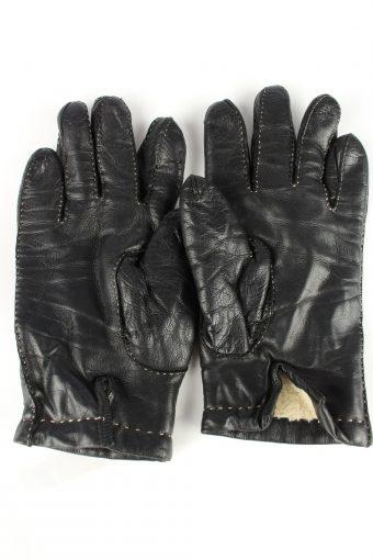 Leather Gloves Lined Vintage Womens Black -G305-150824