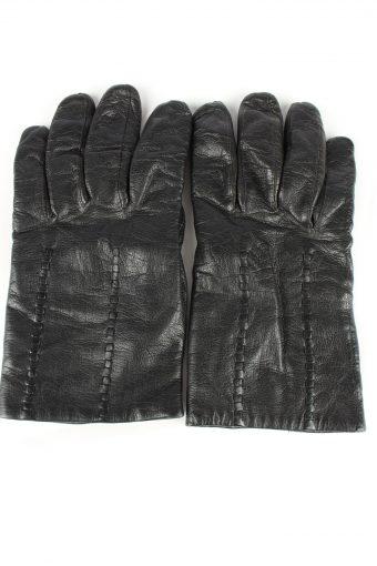 Leather Gloves Lined Vintage Mens Black