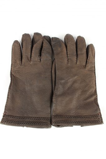 Leather Gloves Lined Vintage Womens 8 Brown