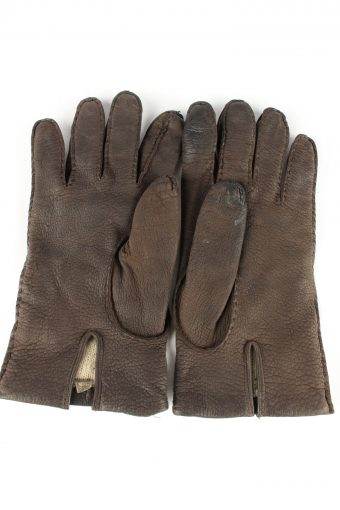 Leather Gloves Lined Vintage Womens 8 Brown -G311-150848