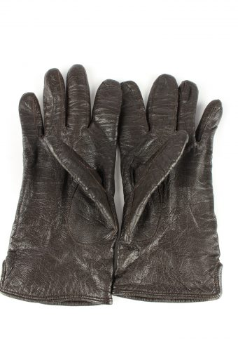 Leather Gloves Lined Vintage Mens Black -G314-150860
