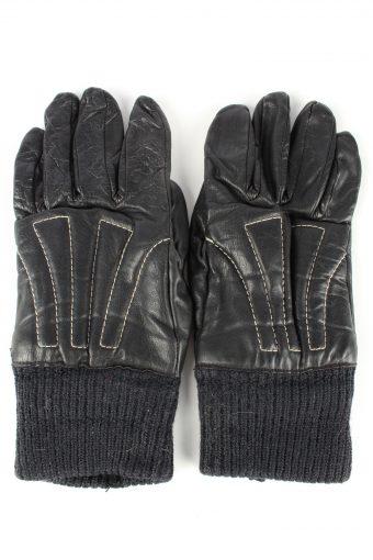 Leather Motorcycle Gloves Lined Vintage Mens 8 in Black
