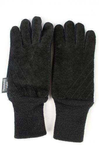 Sheepskin Leather Gloves Lined Vintage Mens M Black