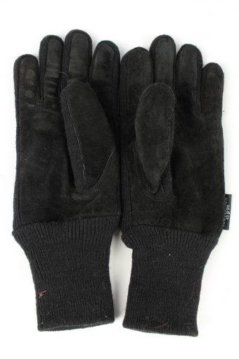 Sheepskin Leather Gloves Lined Vintage Mens M Black -G417-151747