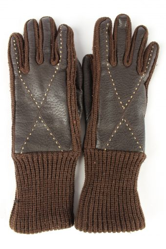 Faux Leather Gloves Lined Vintage Womens 7 in Brown