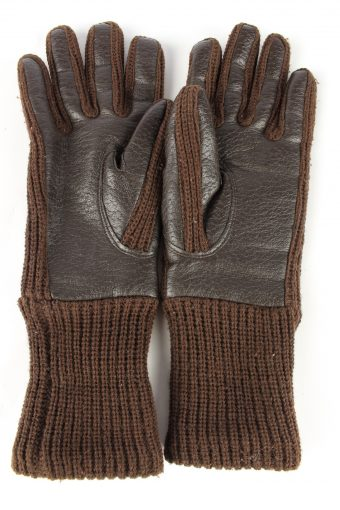 """Faux Leather Gloves Lined Vintage Womens 7"""" Brown -G428-151780"""