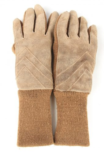 Suede Leather Gloves Lined Vintage Womens 6.5 in Brown