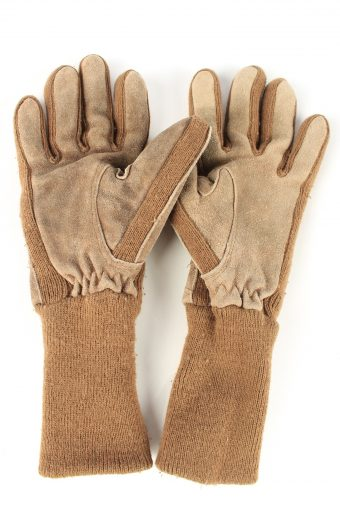 """Suede Leather Gloves Lined Vintage Womens 6.5"""" Brown -G429-151783"""