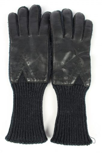 Leather Gloves Vintage Womens 7 in Black