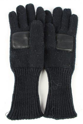 "Leather Gloves Vintage Womens 7"" Black -G430-151786"