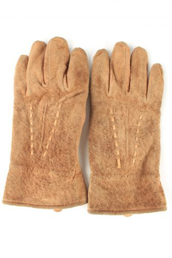Suede Leather Gloves Lined Vintage Womens 8 in Brown