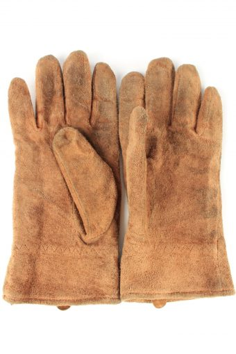"""Suede Leather Gloves Lined Vintage Womens 8"""" Brown -G431-151789"""