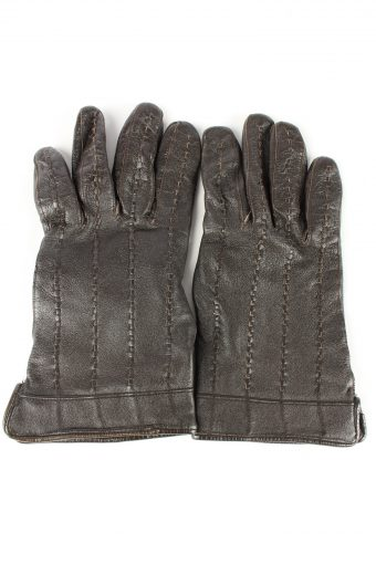 Leather Gloves Lined Vintage Womens 7.5 in Brown