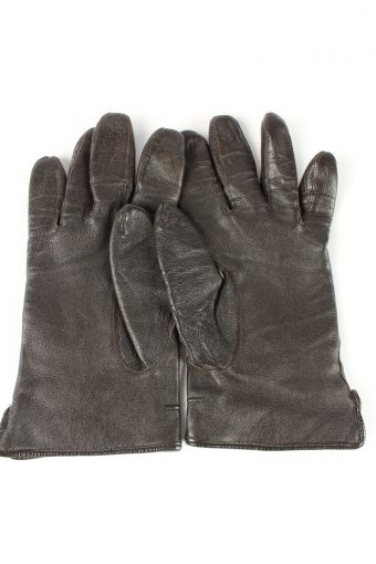 """Leather Gloves Lined Vintage Womens 7.5"""" Brown -G432-151792"""