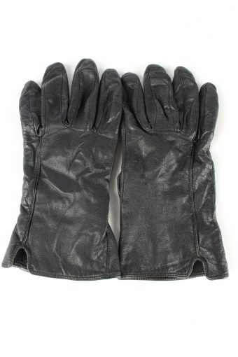 Leather Gloves Lined Vintage Womens 7.5 in Black