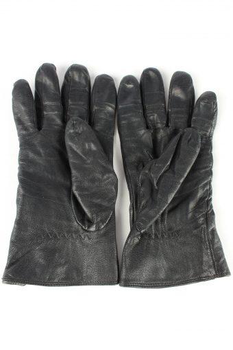 "Leather Gloves Lined Vintage Womens 7.5"" Black -G433-151795"