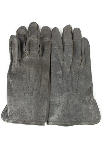Leather Gloves Vintage Womens 7.5 in Grey
